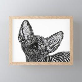black and white Sphinx Framed Mini Art Print