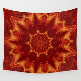 Red Supernova - Abstract Kaleidoscope Art by Fluid Nature Wall Tapestry