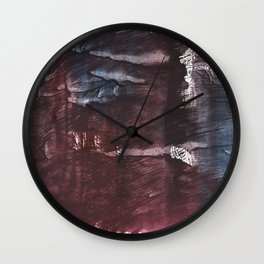 Brown Blue colored watercolor design Wall Clock