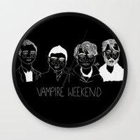 vampire weekend Wall Clocks featuring Vampire Weekend (Inverted) by ☿ cactei ☿