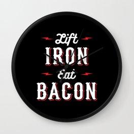 Lift Iron Eat Bacon Wall Clock
