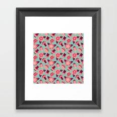 flat flowers - pattern Framed Art Print