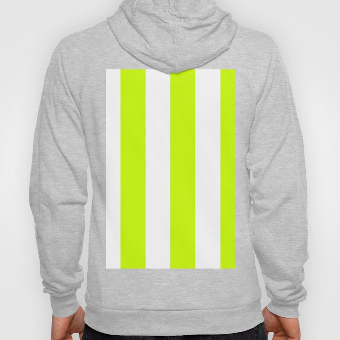 Wide Vertical Stripes - White and Fluorescent Yellow Hoody