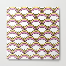 Pink and Gold Art Deco Pattern Metal Print