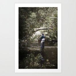 Trout River Fishing Art Print