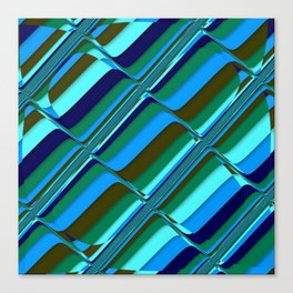 Vibrant Tiles in Blue, Green, Navy and Mint Canvas Print