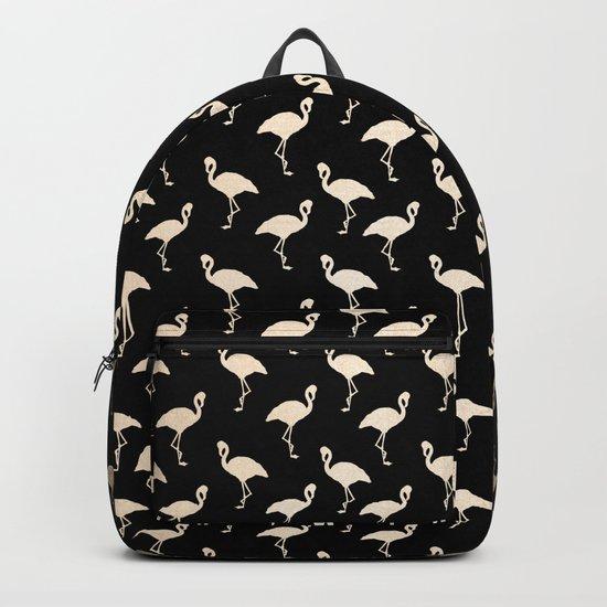 Flamingo Pattern Gold + Black Backpack
