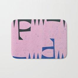 Pink and Blue Abstract Art Geometric Bath Mat