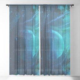 Space squid Sheer Curtain