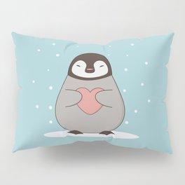 Kawaii Cute Penguin With A Heart Pillow Sham