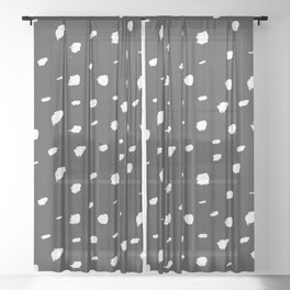 Seeing Spots // White ink on Dark Gray / Almost Black Sheer Curtain