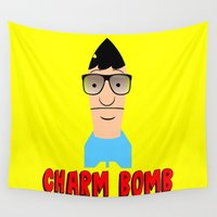 tina crespo Wall Tapestries featuring Charm Bomb  |  Tina Belcher  by Silvio Ledbetter
