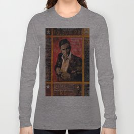 Red Johnny Cash Long Sleeve T-shirt