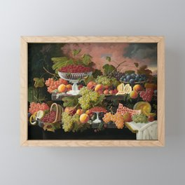 Two-Tiered Still Life with Fruit and Sunset Landscape Framed Mini Art Print