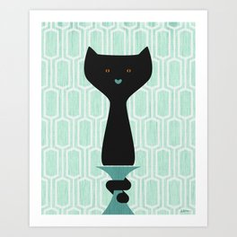 Oscar Wildcat - Black Cat Mint Green Background Art Print
