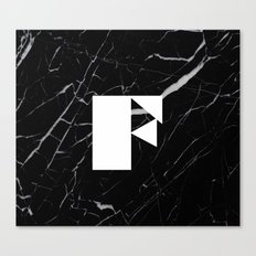 Black Marble - Alphabet F Canvas Print