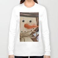 snowman Long Sleeve T-shirts featuring Snowman  by IowaShots