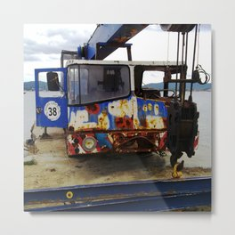 Old crane near St. Tropez at Grimaud beach. Metal Print