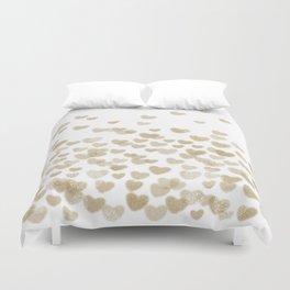 Gold Glitter Hearts - White Background for Valentines Day, Love, Bokeh, for trendy girls cell phone Duvet Cover