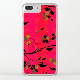 Beautiful Floral, Red Green Black Clear iPhone Case