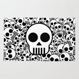 Skull Texture Black White Surface Rug