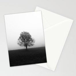 Lonely tree in fog black and white Stationery Cards