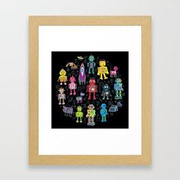 Robots in Space - on black Framed Art Print