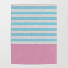 Pink and blue stripes and color block Poster