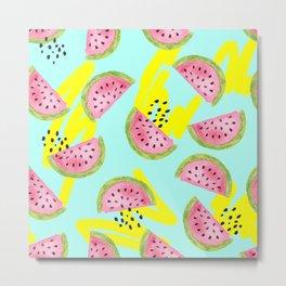 Colorful Watermelon Pattern Metal Print