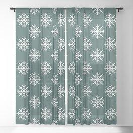 Snowflakes (White & Dark Green Pattern) Sheer Curtain