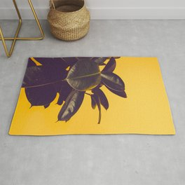 Mid Century Modern Yellow Background Color Pop Minimalist Plant Leaves Rug