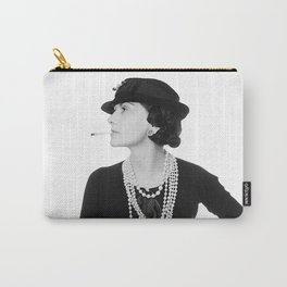 Fashion Icon, French Woman with Pearls, Black and White Art Carry-All Pouch