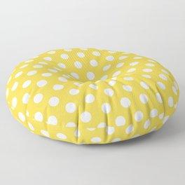 White Polka Dots on Yellow Floor Pillow