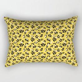 Black and Yellow Floral Patter Rectangular Pillow