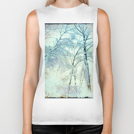 Abstract Trees snow covered Biker Tank