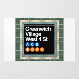 subway greenwich village sign Rug