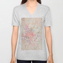 Fayetteville map North Carolina painting Unisex V-Neck
