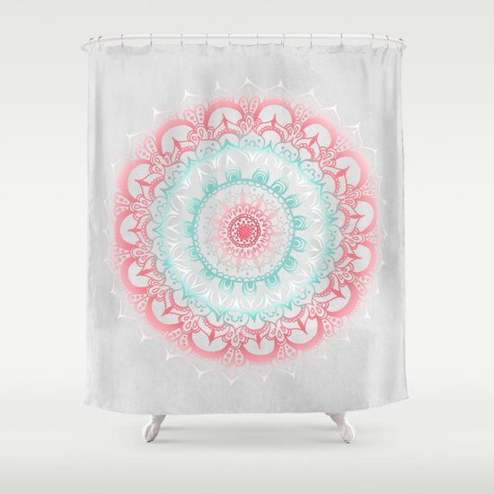 Teal Amp Coral Glow Medallion Shower Curtain By Tangerine