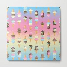Pixel Ice Cream - Rainbow Metal Print