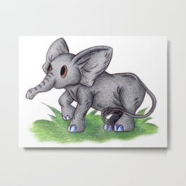 Curious Baby Elephant Metal Print