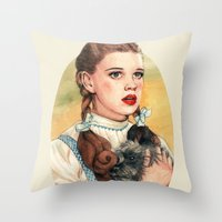 kansas Throw Pillows featuring I Don't Think We're In Kansas Anymore by Helen Green