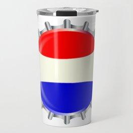 Red White And Blue Bottle Cap Travel Mug