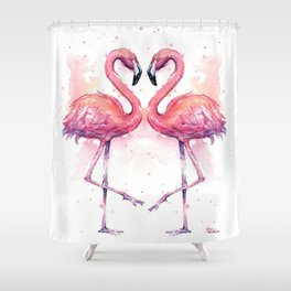 Flamingo Watercolor Two Flamingos in Love Shower Curtain