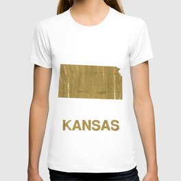 Kansas map outline Metallic Sunburst watercolor T-shirt