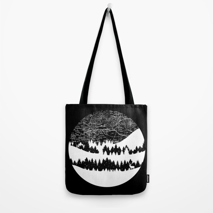 Map Silhouette Circle Tote Bag
