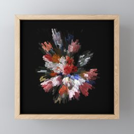 Abstract 3D pixel flowers Framed Mini Art Print