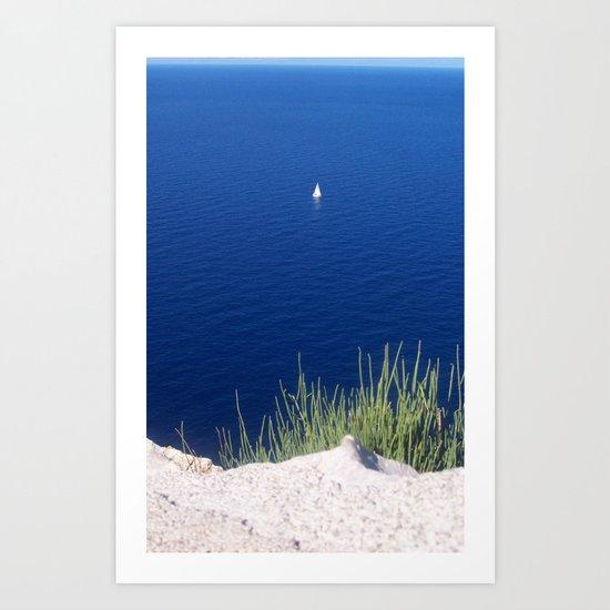 Lonely sailboat off the Mediterranean coast Art Print
