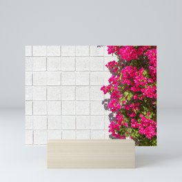 Bougainvilleas and White Brick Wall in Palm Springs, California Mini Art Print