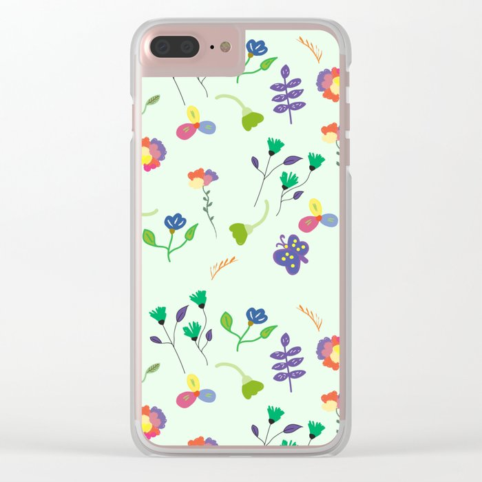 Spring Floral Pattern Clear iPhone Case