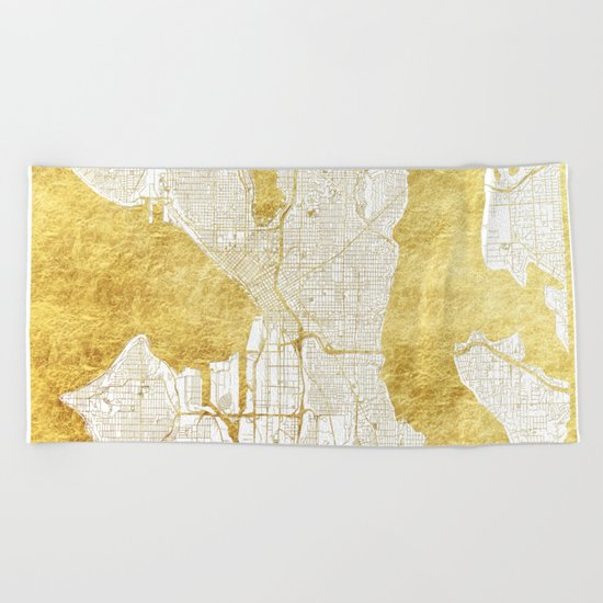 Seattle Map Gold Beach Towel